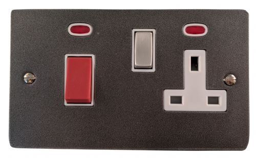 G&H FP229 Flat Plate Pewter 45 Amp DP Cooker Switch & 13A Switched Socket